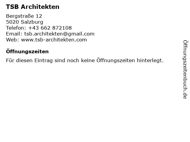 TSB Architekten in Salzburg: Adresse und Öffnungszeiten