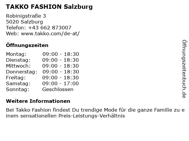 Takko Fashion in Salzburg: Adresse und Öffnungszeiten