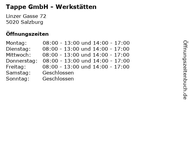 Tappe GmbH - Werkstätten in Salzburg: Adresse und Öffnungszeiten