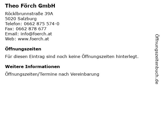 Theo Förch GmbH in Salzburg: Adresse und Öffnungszeiten