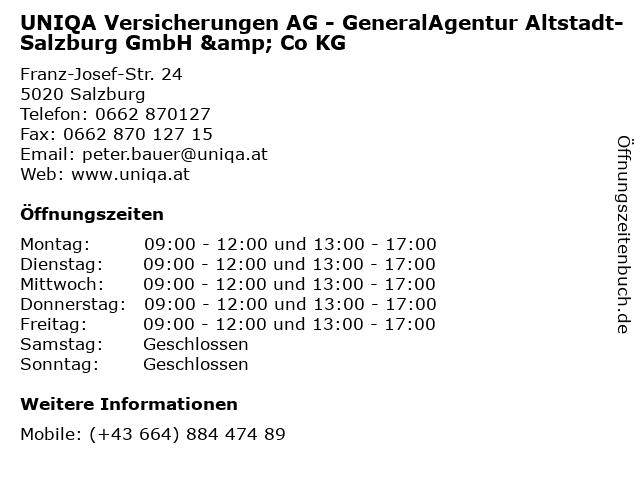 UNIQA Versicherungen AG - GeneralAgentur Altstadt-Salzburg GmbH & Co KG in Salzburg: Adresse und Öffnungszeiten