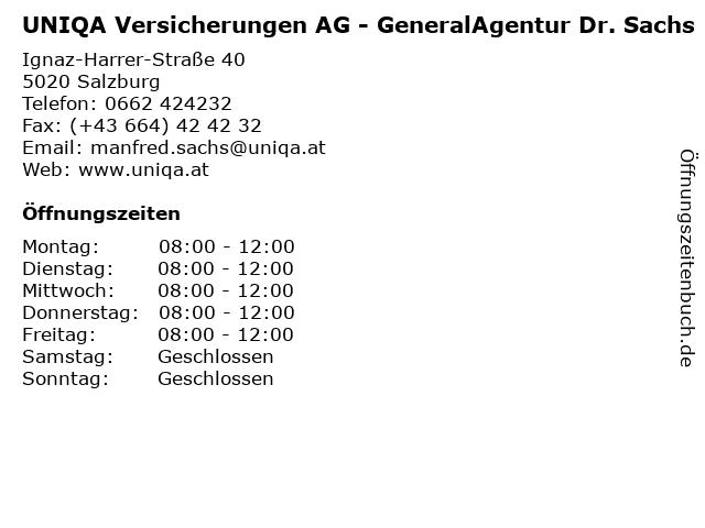 UNIQA Versicherungen AG - GeneralAgentur Dr. Sachs in Salzburg: Adresse und Öffnungszeiten