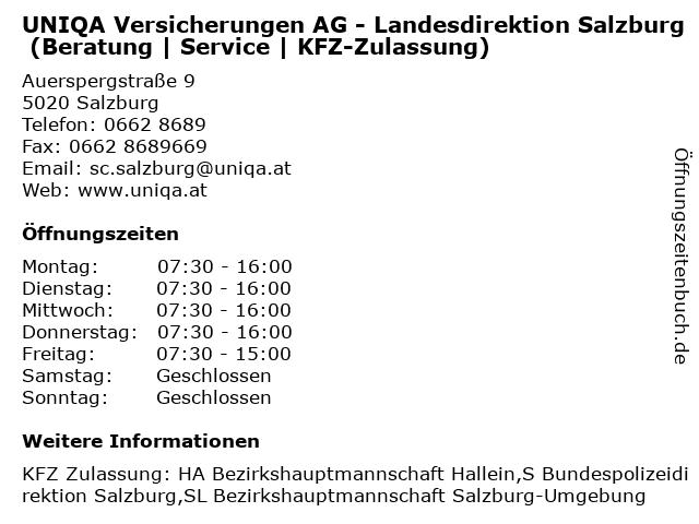 UNIQA Versicherungen AG - Landesdirektion Salzburg (Beratung | Service | KFZ-Zulassung) in Salzburg: Adresse und Öffnungszeiten
