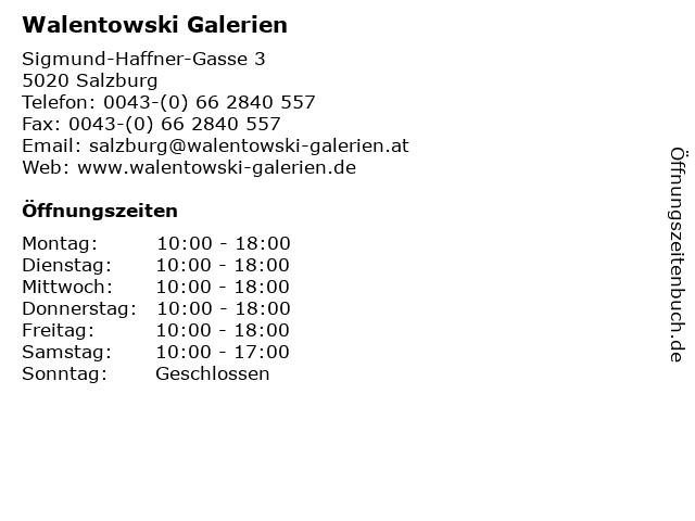 Walentowski Galerien in Salzburg: Adresse und Öffnungszeiten