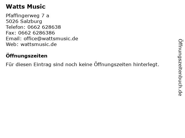 Watts Music in Salzburg: Adresse und Öffnungszeiten
