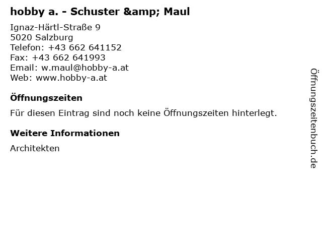hobby a. - Schuster & Maul in Salzburg: Adresse und Öffnungszeiten