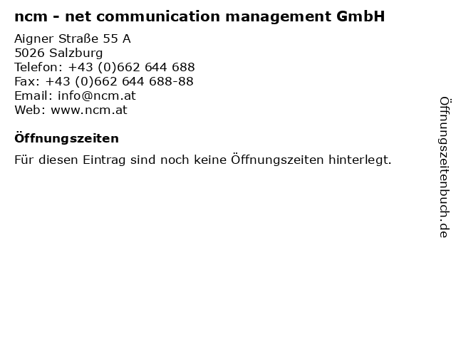 ncm - net communication management GmbH in Salzburg: Adresse und Öffnungszeiten
