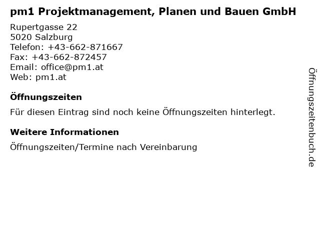 pm1 Projektmanagement, Planen und Bauen GmbH in Salzburg: Adresse und Öffnungszeiten