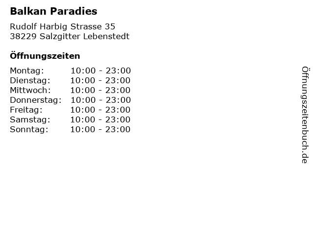 Balkan Paradies in Salzgitter Lebenstedt: Adresse und Öffnungszeiten