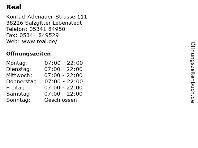Real in Salzgitter Lebenstedt: Adresse und Öffnungszeiten