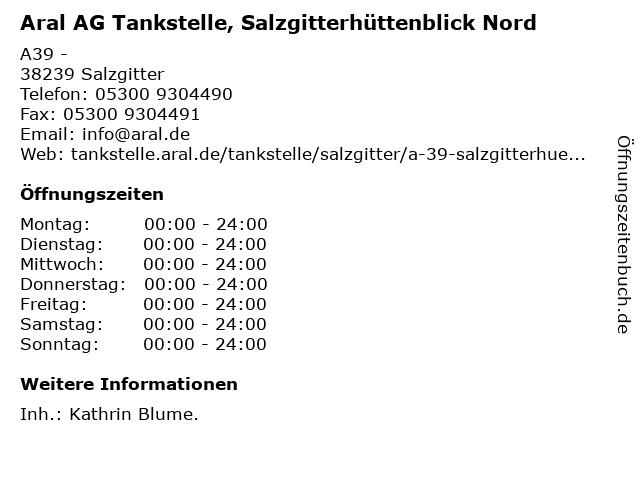 Aral AG Tankstelle, Salzgitterhüttenblick Nord in Salzgitter: Adresse und Öffnungszeiten