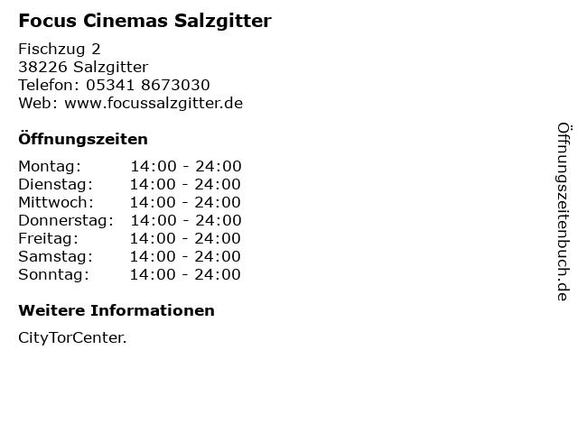 Focus Cinemas Salzgitter in Salzgitter: Adresse und Öffnungszeiten