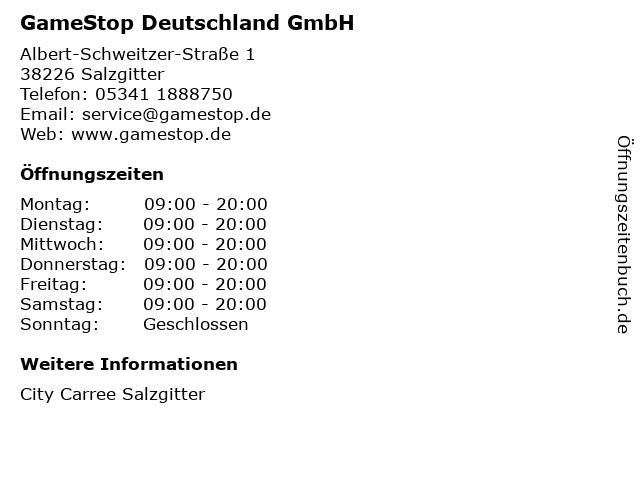 GameStop Deutschland GmbH in Salzgitter: Adresse und Öffnungszeiten