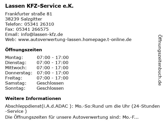 Lassen KFZ-Service e.K. in Salzgitter: Adresse und Öffnungszeiten