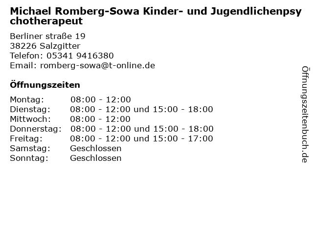 Michael Romberg-Sowa Kinder- und Jugendlichenpsychotherapeut in Salzgitter: Adresse und Öffnungszeiten