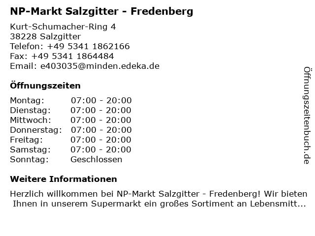 NP-Markt Salzgitter - Fredenberg in Salzgitter: Adresse und Öffnungszeiten