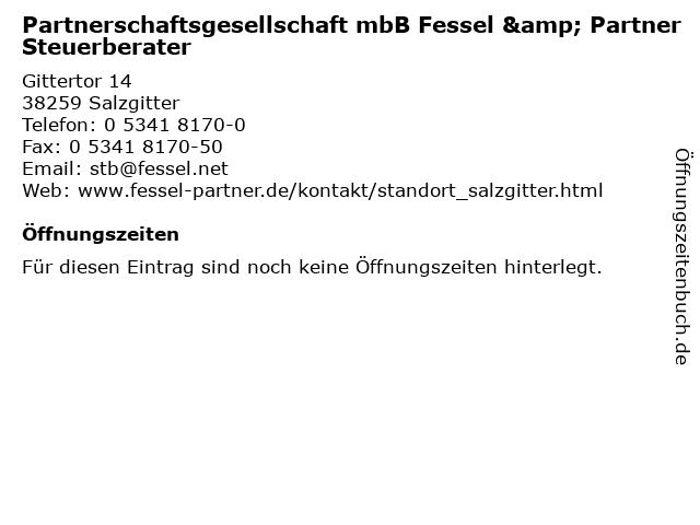Partnerschaftsgesellschaft mbB Fessel & Partner Steuerberater in Salzgitter: Adresse und Öffnungszeiten