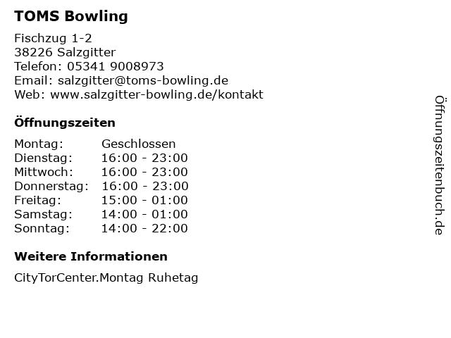 TOMS Bowling in Salzgitter: Adresse und Öffnungszeiten
