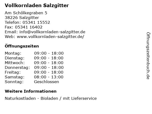 Vollkornladen Salzgitter in Salzgitter: Adresse und Öffnungszeiten
