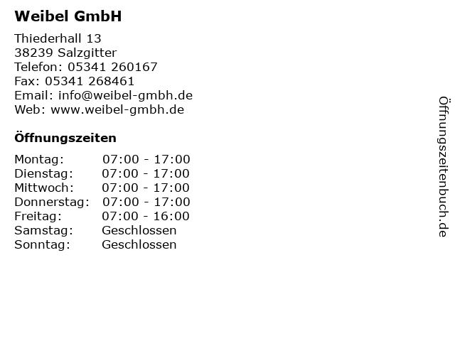 Weibel GmbH in Salzgitter: Adresse und Öffnungszeiten