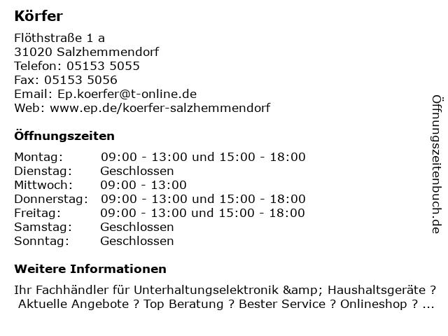 EP:Körfer in Salzhemmendorf: Adresse und Öffnungszeiten