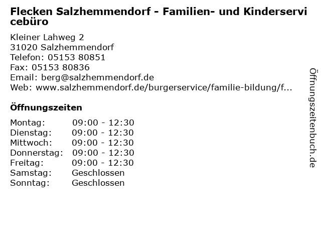 Flecken Salzhemmendorf - Familien- und Kinderservicebüro in Salzhemmendorf: Adresse und Öffnungszeiten