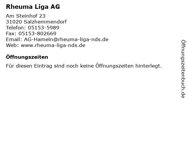 Rheuma Liga AG in Salzhemmendorf: Adresse und Öffnungszeiten