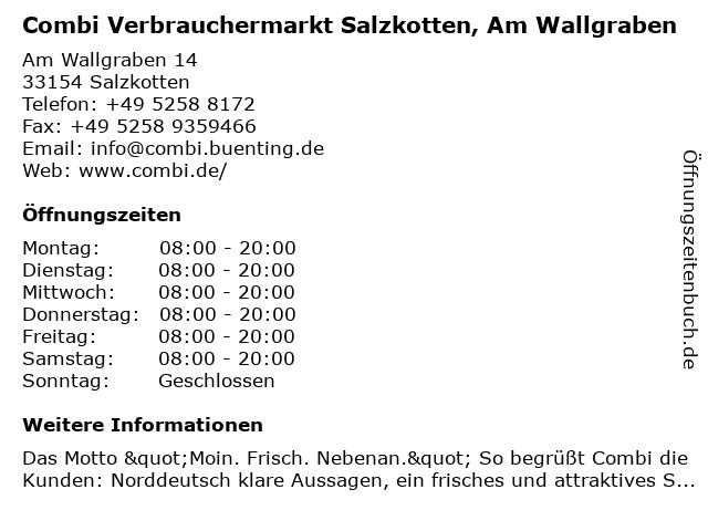 Combi Verbrauchermarkt Salzkotten, Am Wallgraben in Salzkotten: Adresse und Öffnungszeiten