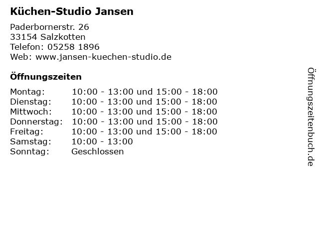 Küchen-Studio Jansen in Salzkotten: Adresse und Öffnungszeiten