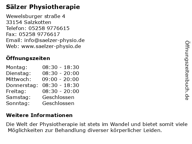 Sälzer Physiotherapie in Salzkotten: Adresse und Öffnungszeiten