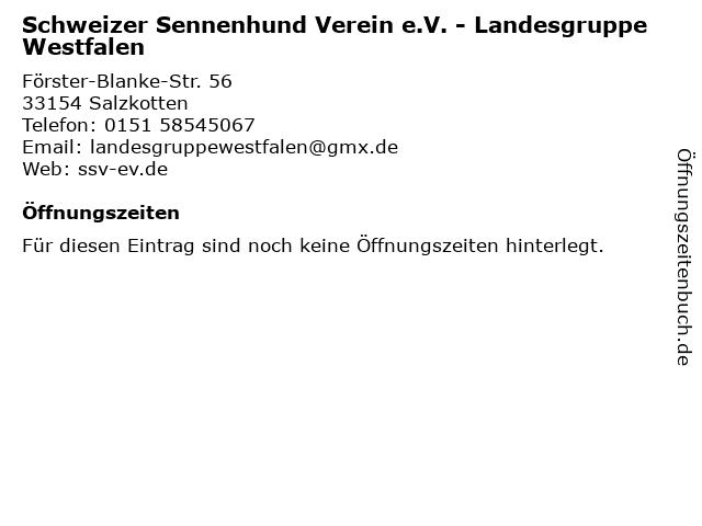 Schweizer Sennenhund Verein e.V. - Landesgruppe Westfalen in Salzkotten: Adresse und Öffnungszeiten