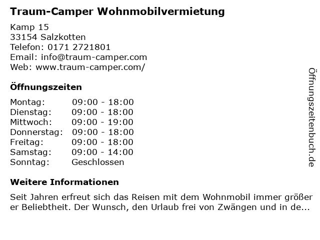 Traum-Camper in Salzkotten: Adresse und Öffnungszeiten