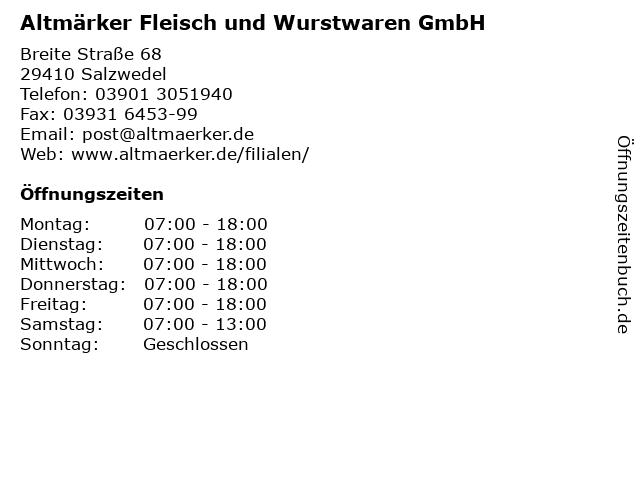 Altmärker Fleisch und Wurstwaren GmbH in Salzwedel: Adresse und Öffnungszeiten