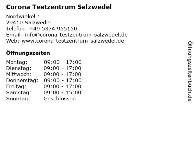 Corona Testzentrum Salzwedel in Salzwedel: Adresse und Öffnungszeiten