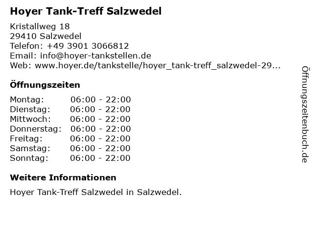 Tank-Treff in Salzwedel: Adresse und Öffnungszeiten