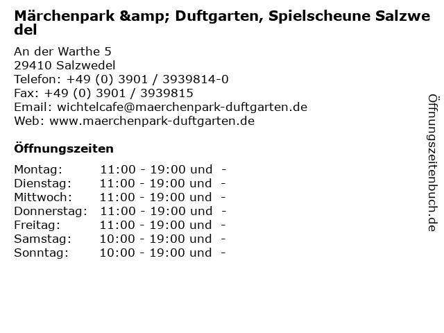 ᐅ Offnungszeiten Marchenpark Duftgarten Spielscheune Salzwedel