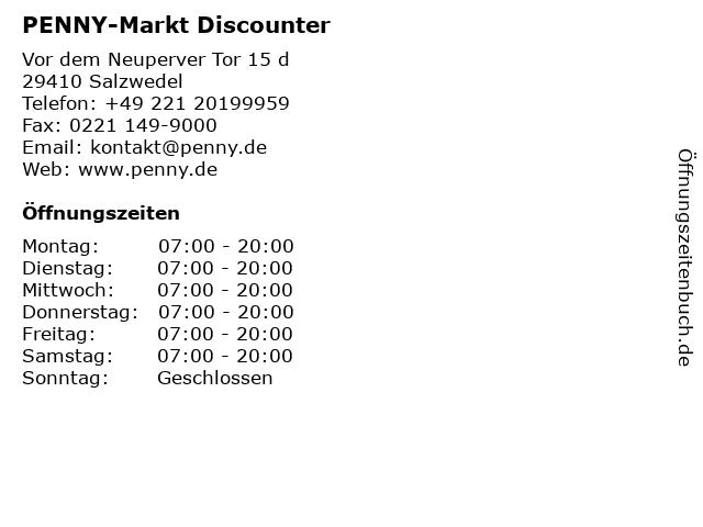 PENNY-Markt Discounter in Salzwedel: Adresse und Öffnungszeiten