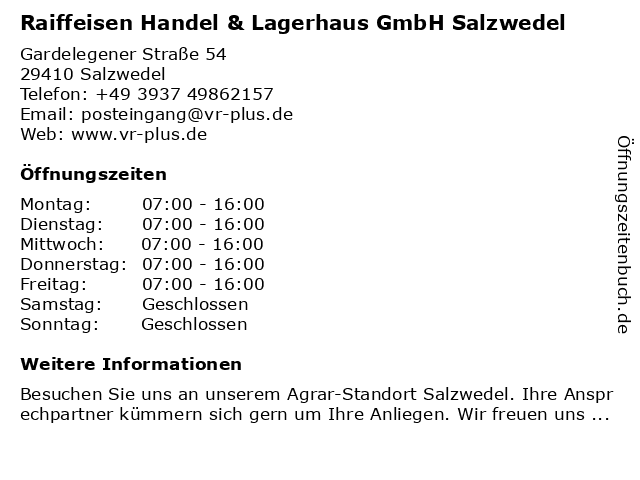 Raiffeisen Handel & Lagerhaus GmbH Salzwedel in Salzwedel: Adresse und Öffnungszeiten