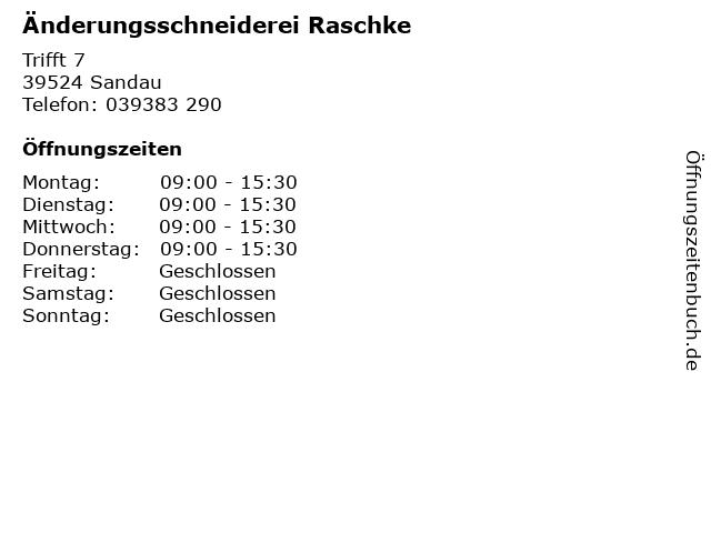 Änderungsschneiderei Raschke in Sandau: Adresse und Öffnungszeiten