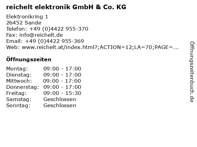 ᐅ öffnungszeiten Reichelt Elektronik Gmbh Co Kg