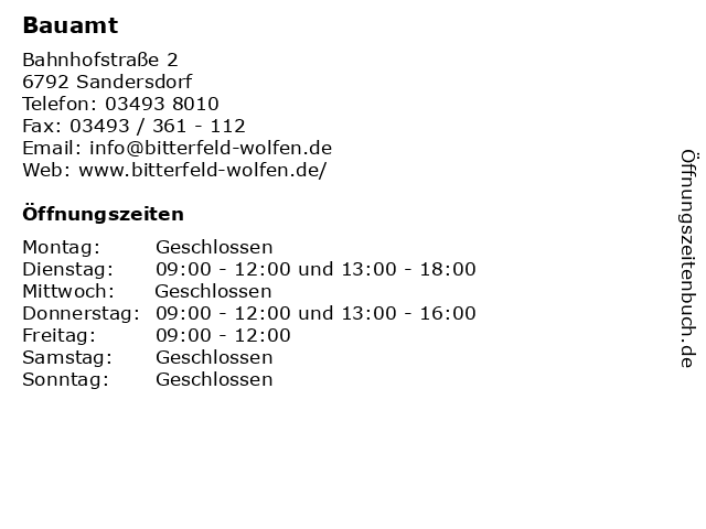 Bauamt in Sandersdorf: Adresse und Öffnungszeiten
