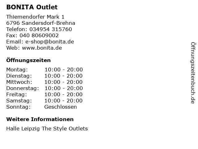 Bonita / Bonita Men in Sandersdorf-Brehna: Adresse und Öffnungszeiten