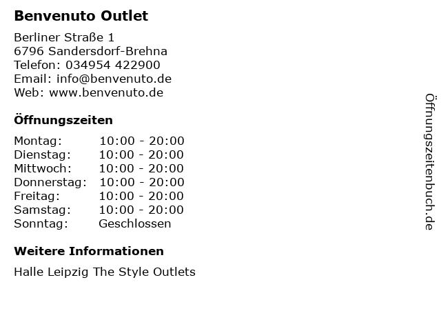 Benvenuto Outlet in Sandersdorf-Brehna: Adresse und Öffnungszeiten