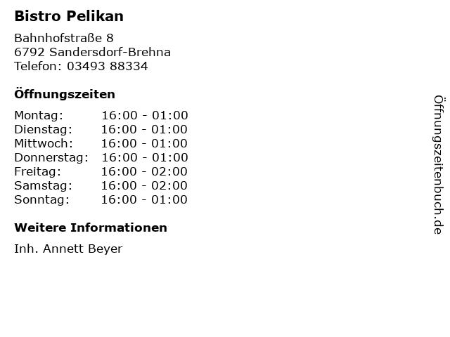 Bistro Pelikan in Sandersdorf-Brehna: Adresse und Öffnungszeiten