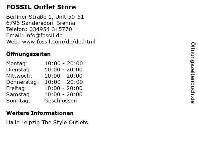 FOSSIL Outlet Store in Sandersdorf-Brehna: Adresse und Öffnungszeiten