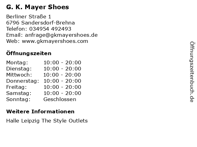 G. K. Mayer Shoes in Sandersdorf-Brehna: Adresse und Öffnungszeiten