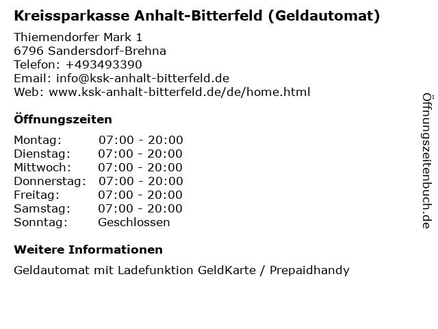 Kreissparkasse Anhalt-Bitterfeld - (Geldautomat PEP-Markt) in Sandersdorf-Brehna: Adresse und Öffnungszeiten