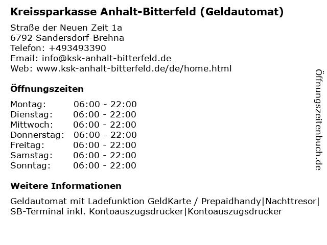 Kreissparkasse Anhalt-Bitterfeld - (Geldautomat Filiale) in Sandersdorf-Brehna: Adresse und Öffnungszeiten