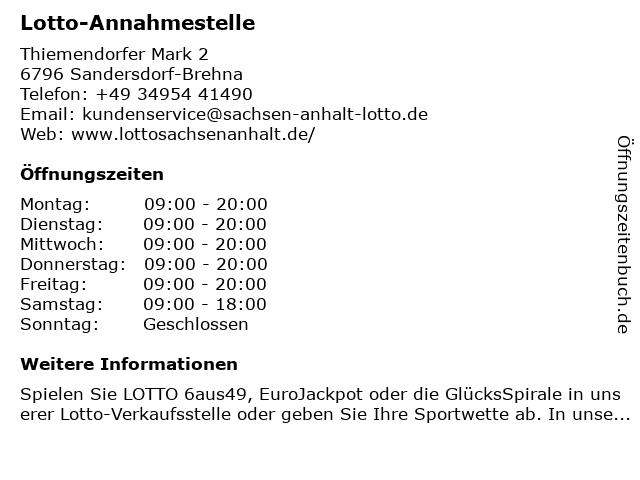 Lotto-Annahmestelle in Sandersdorf-Brehna: Adresse und Öffnungszeiten
