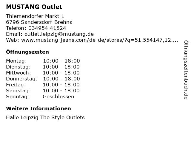 MUSTANG in Sandersdorf-Brehna: Adresse und Öffnungszeiten